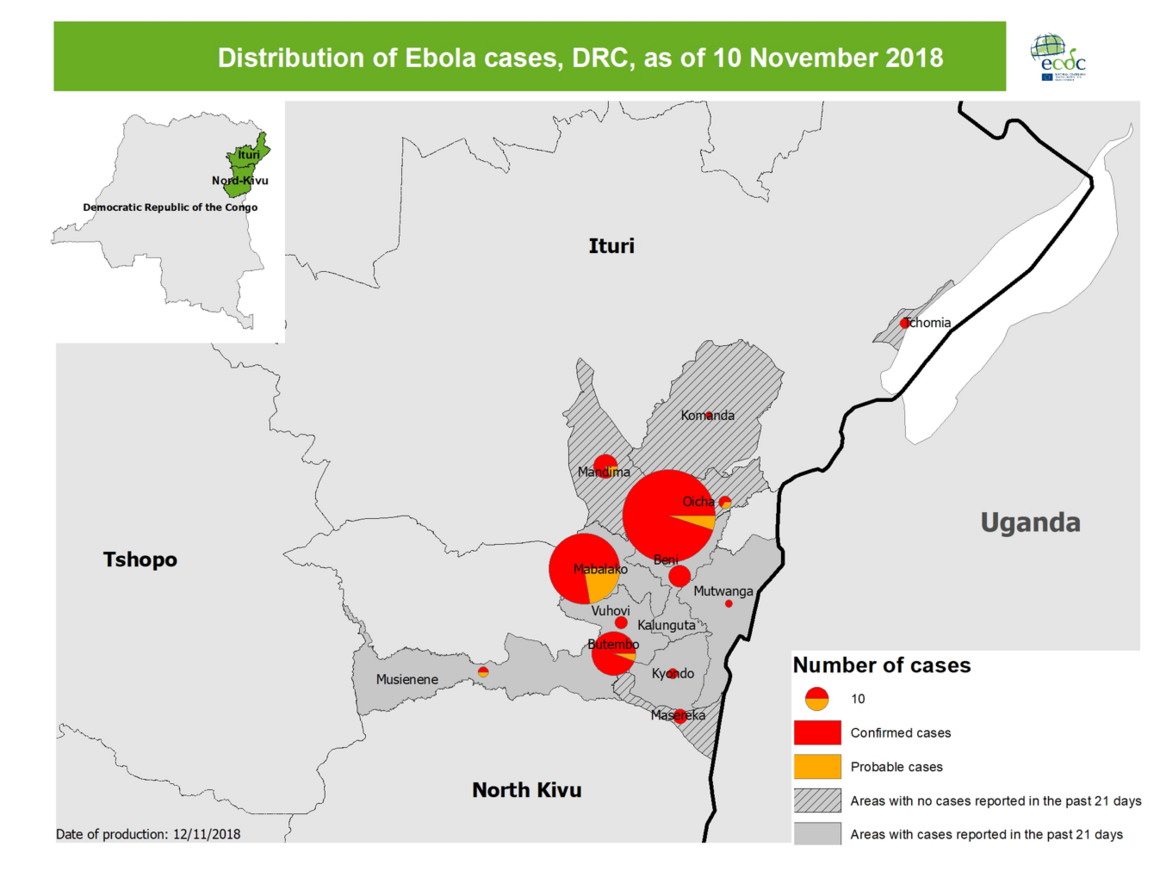 Distribution of Ebola cases, DRC, as of 10 November 2018