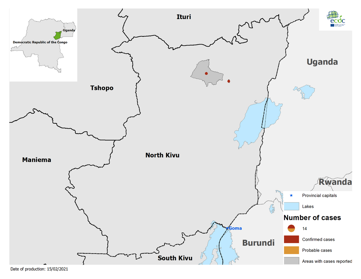 Distribution of Ebola in DRC, 15 February 2021