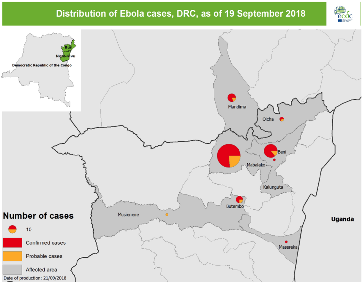 Map of Ebola outbreak, in North Kivu and Ituri, DRC, 19 September 2018