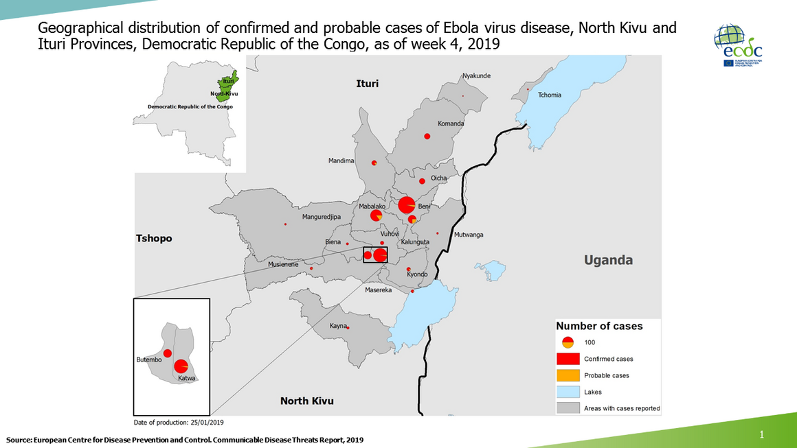 Geographical distribution of confirmed and probable cases of Ebola virus disease, North Kivu and Ituri Provinces, Democratic Republic of the Congo, as of week 4, 2019
