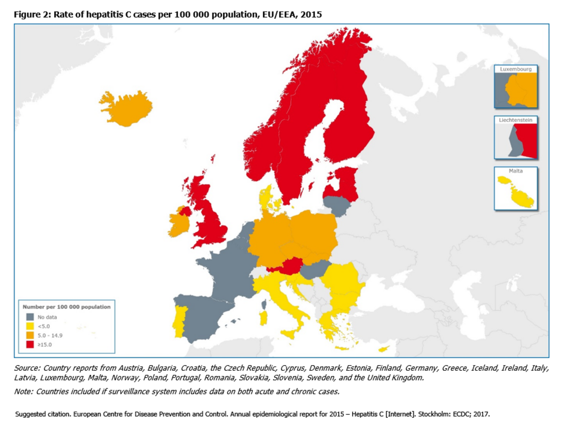 Rate of hepatitis C cases per 100 000 population, EU/EEA, 2015