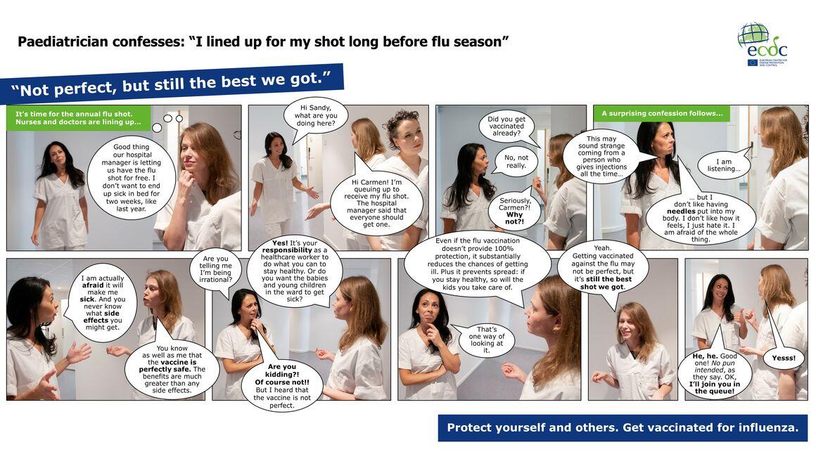 Photo comic to promote seasonal influenza vaccination nurses and doctors