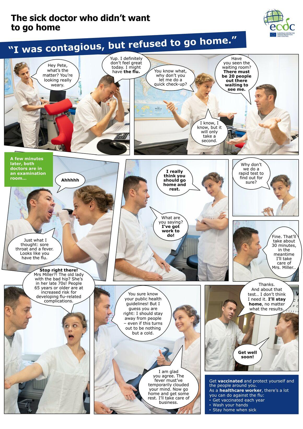 Photo comic poster seasonal influenza vaccination - Sick doctor