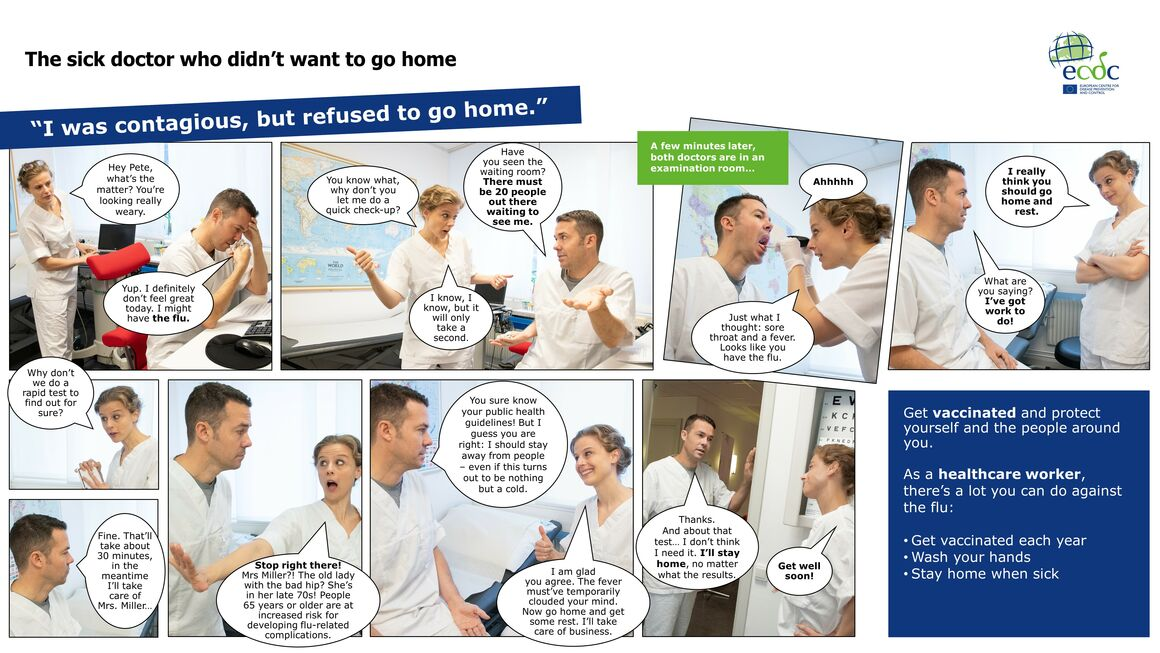 Photo comic to promote seasonal influenza vaccination sick doctor