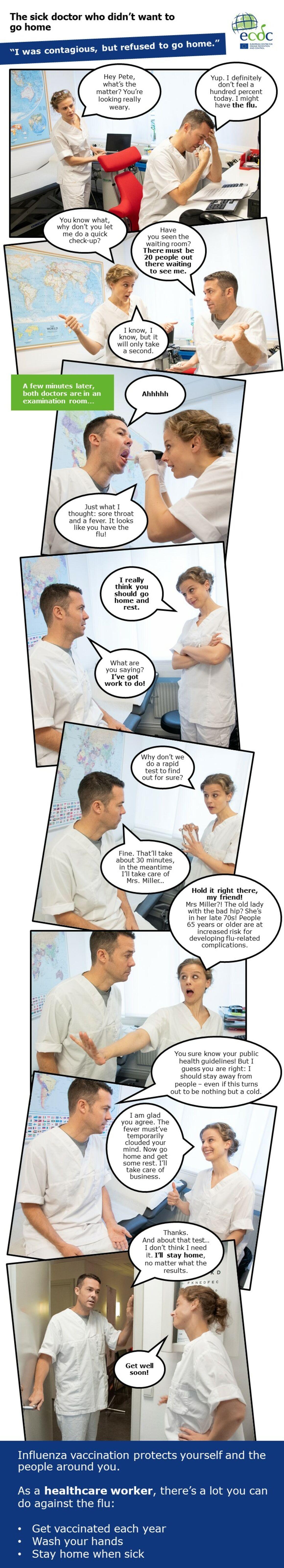 Photo comic web banner seasonal influenza vaccination - Sick doctor