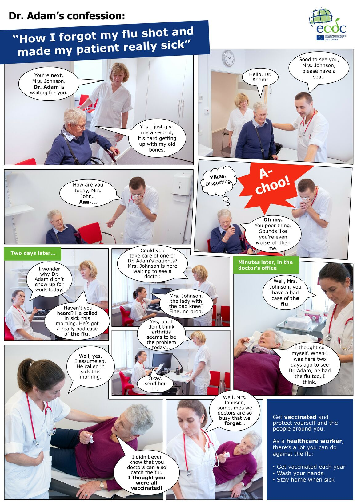 Photo comic poster seasonal influenza vaccination - Sick patient