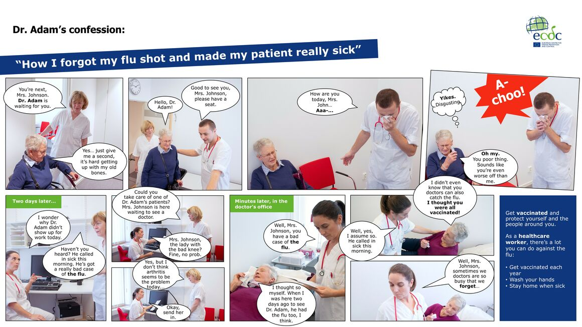 Photo comic to promote seasonal influenza vaccination sick patient sm