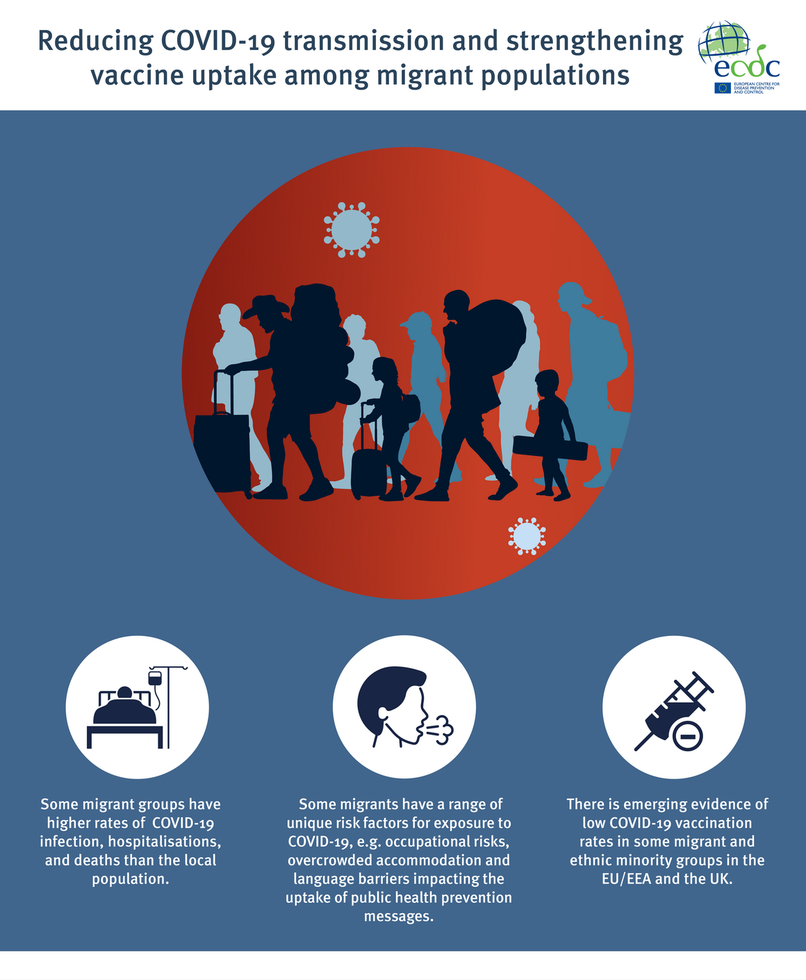 infographic: Findings on COVID-19 transmission and vaccine uptake among migrants