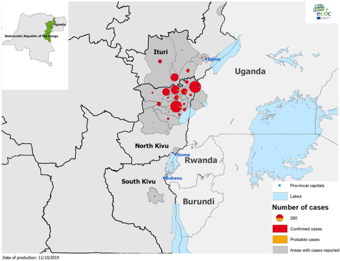 Ebola map, DRC and Uganda, 9 October 2019