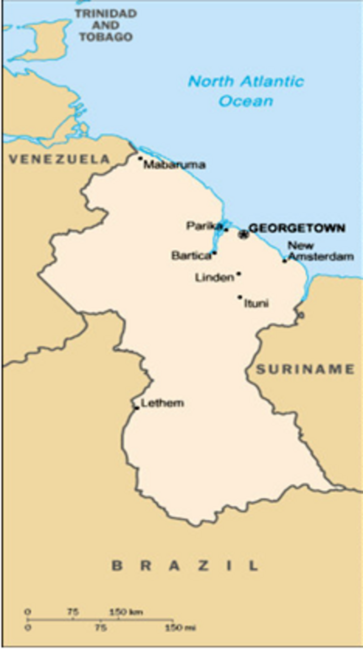 EPIET Postcard from the field - Map of Guyana