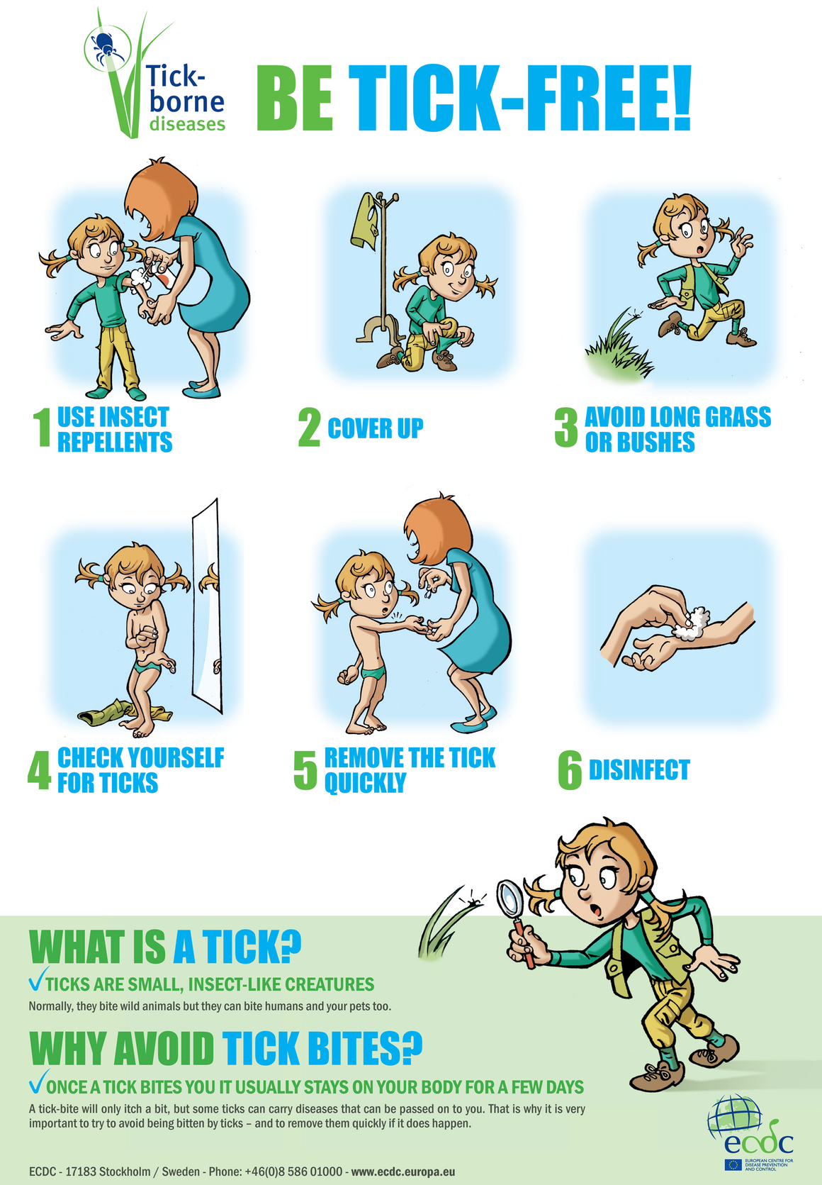 Poster on ticks and preventive measures, for children living in endemic areas (Short version)