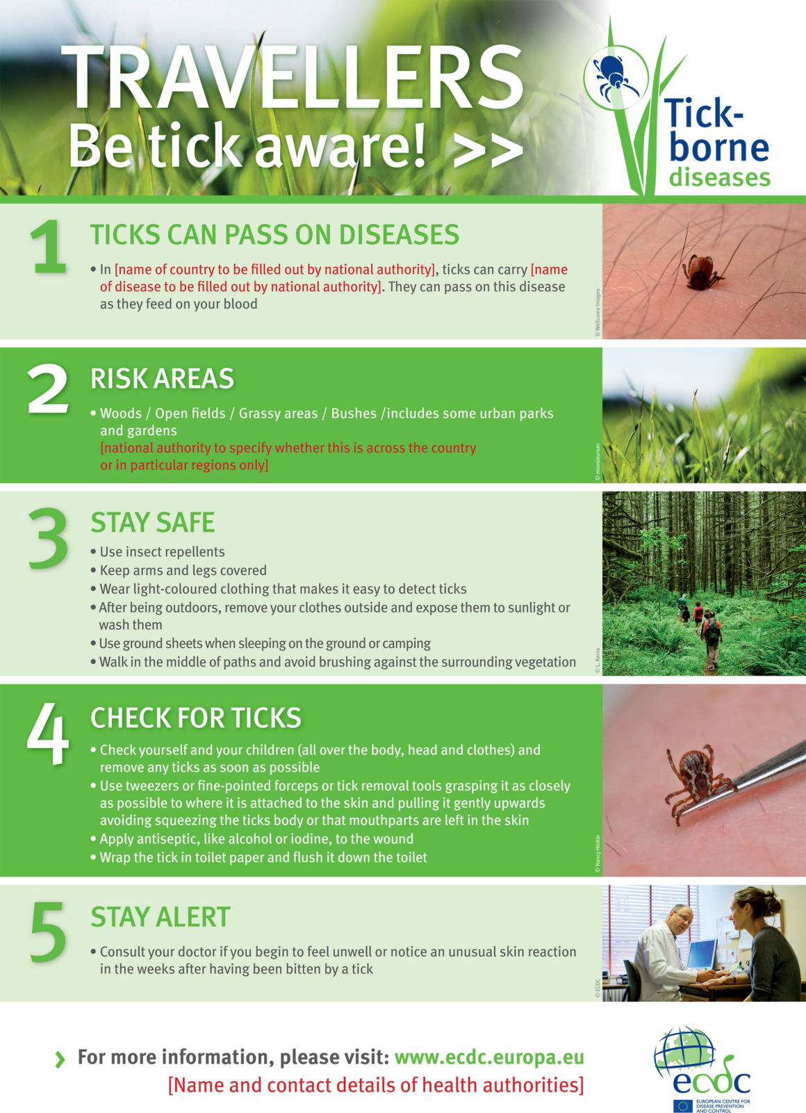 Poster for travellers on ticks and tickborne disease