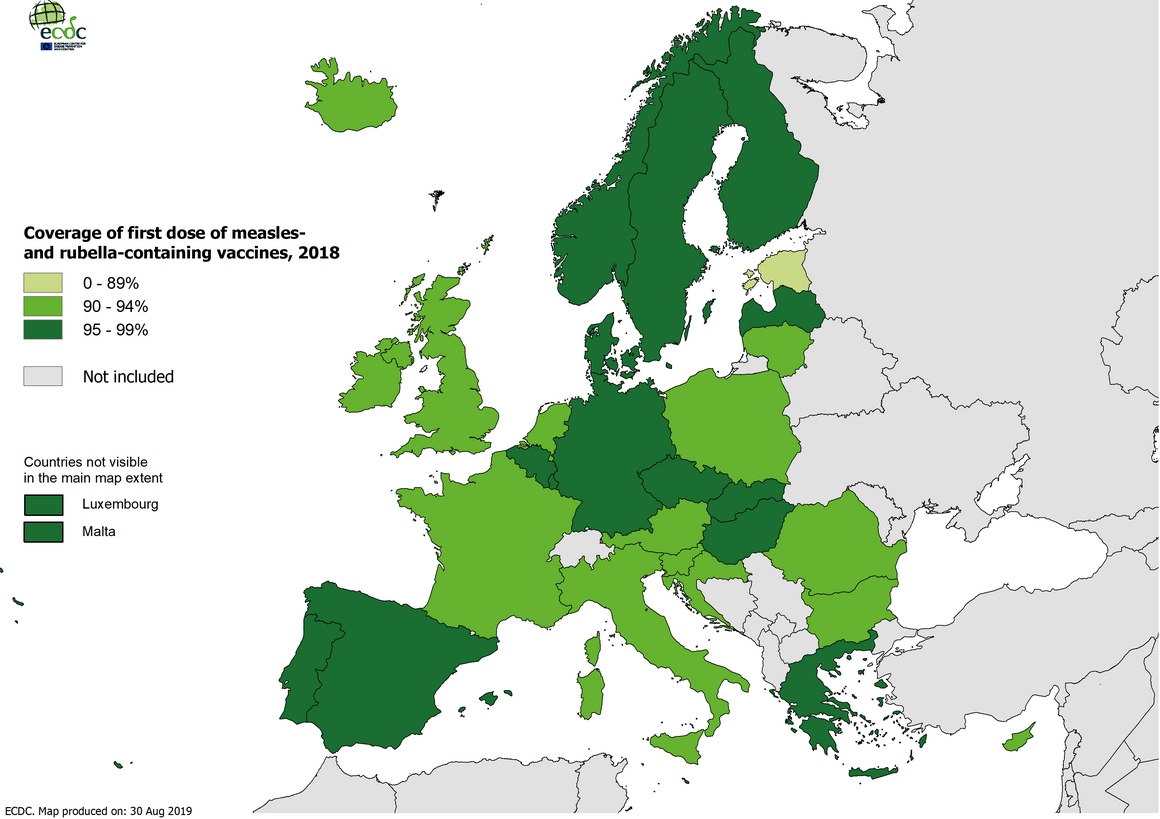 Vaccination coverage for the first doses of measles and rubella containing vaccine by country, EU/EEA, 2018